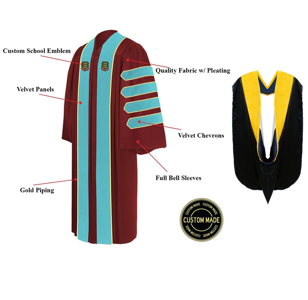 Custom Doctoral Graduation Gown and Hood Package - Doctorate Regalia - Graduation Cap and Gown