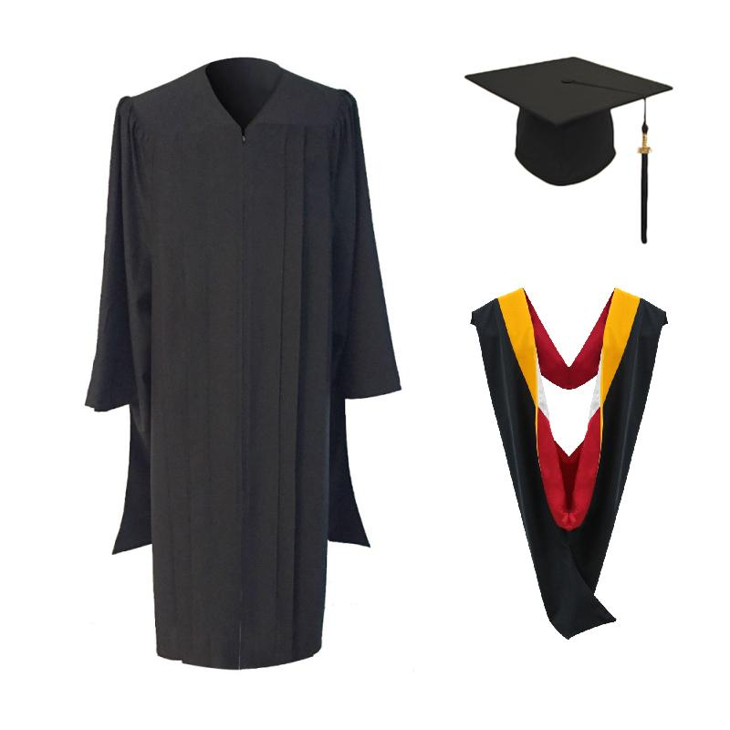 Classic Masters Graduation Cap, Gown, Tassel & Hood Package - Graduation Cap and Gown
