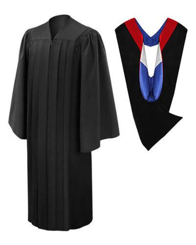 Deluxe Black Bachelors Gown & Hood Package - Graduation Cap and Gown