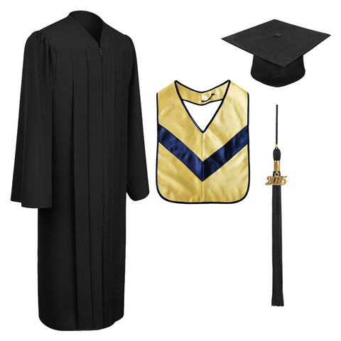 Matte Black Associates Cap, Gown, Tassel & Hood Package