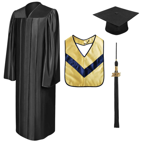 Shiny Black Associates Cap, Gown, Tassel & Hood Package