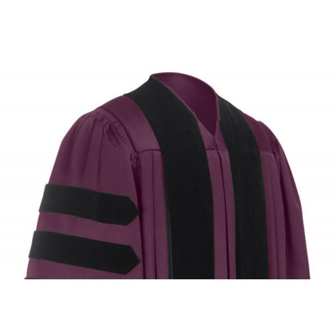 Deluxe Maroon Doctoral Gown - Graduation Cap and Gown