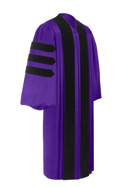 Deluxe Purple Doctoral Gown - Graduation Cap and Gown