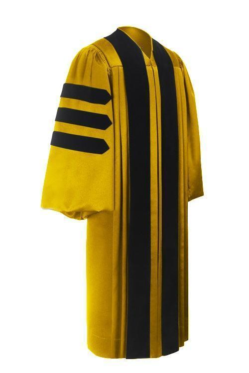 Deluxe Gold Doctoral Gown - Graduation Cap and Gown