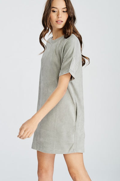 SILVER DREAMS SUEDE DRESS