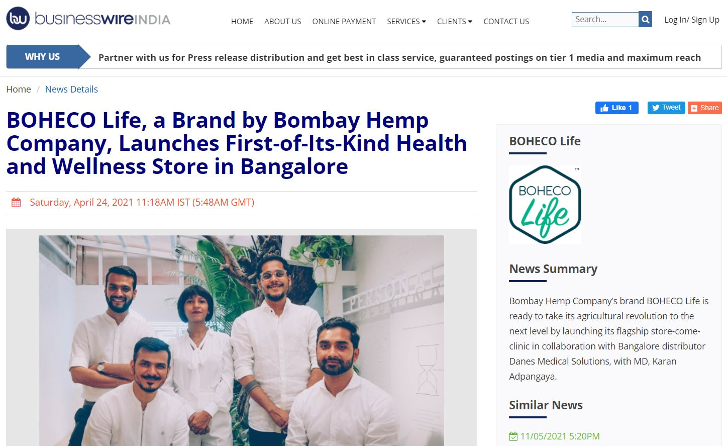 BOHECO Life, a Brand by Bombay Hemp Company, Launches First-of-Its-Kind Health and Wellness Store in Bangalore, BusinessWire India, 24th April 2021