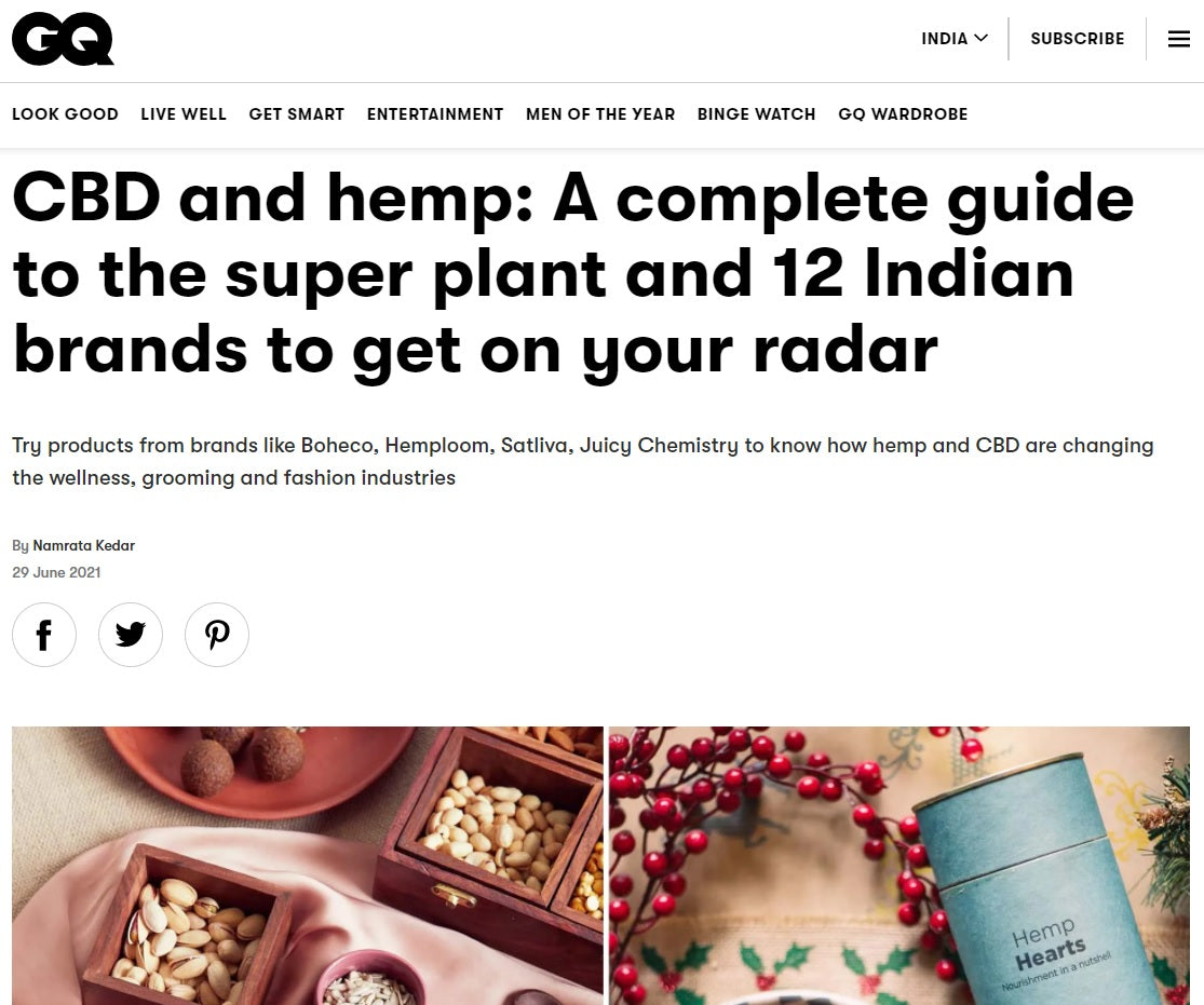 CBD and hemp: A complete guide to the super plant and 12 Indian brands to get on your radar, GQ India, 29th June 2021