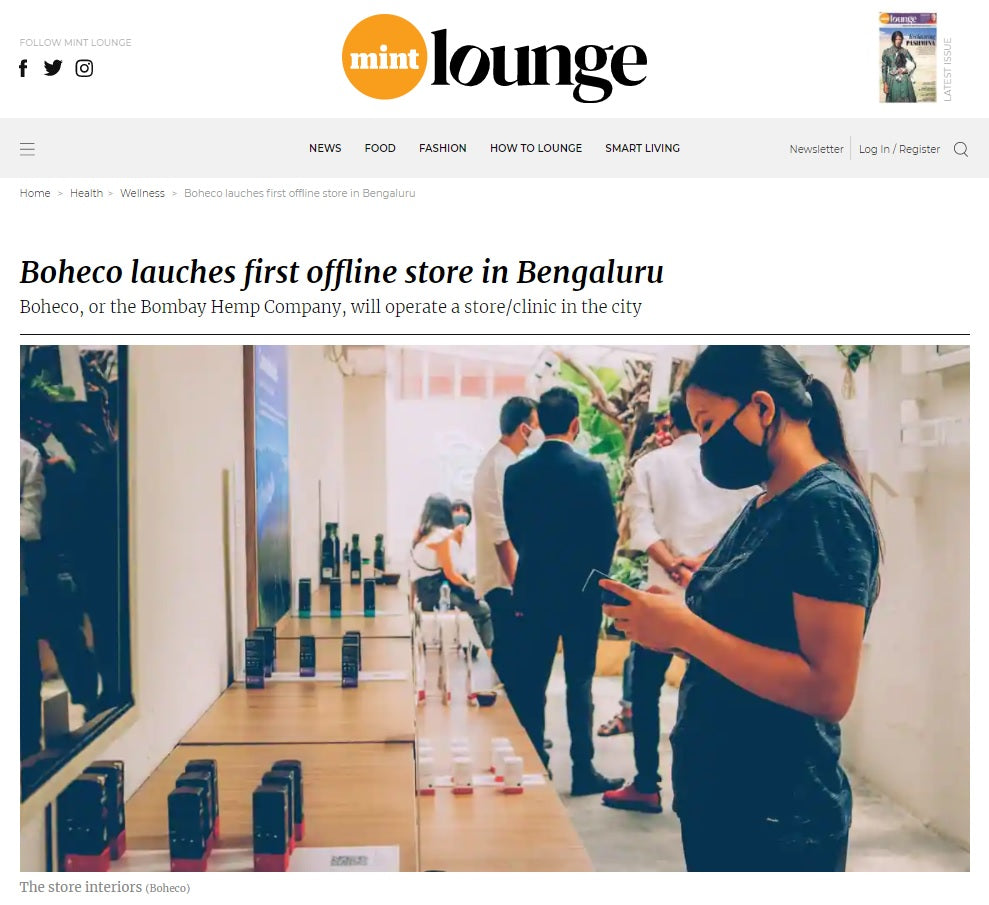 BOHECO Life, a Brand by Bombay Hemp Company, Launches First-of-Its-Kind Health and Wellness Store in Bangalore, Mint Lounge, 23rd April 2021