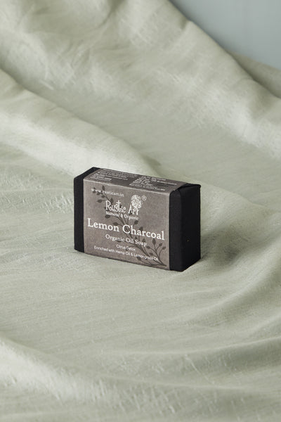Rustic Art Organic Lemon Charcoal Soap with Hemp