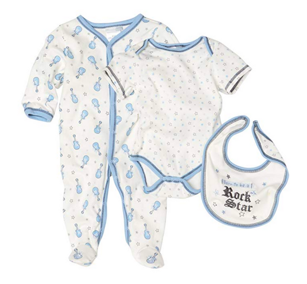 Vitamins Playwear Baby-Boys Newborn Rock Star Three Piece Sleep & Play Set - Skidders.com