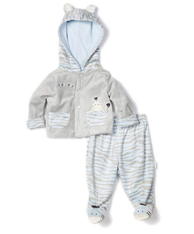 Vitamins Baby Boys Newborn Zebra Superplush 2 Piece Footed Pant Set - Skidders.com