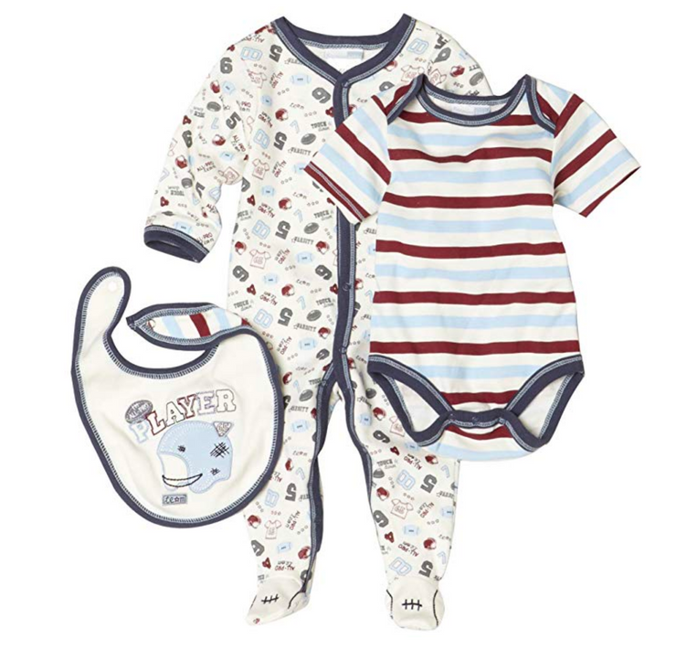 Vitamins Playwear Baby-Boys Newborn Football Three Piece Sleep & Play Set - Skidders.com