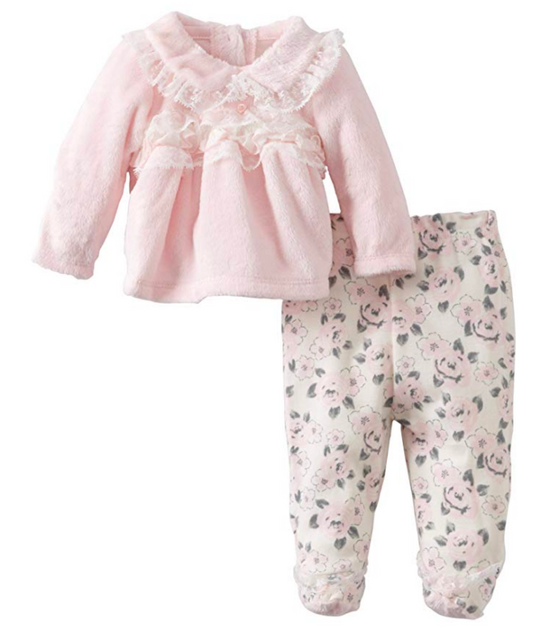 Vitamins Baby-girls Newborn 2 Piece Floral Footed Pant Set