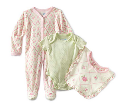 Vitamins Baby Baby-Girls Newborn 3 Piece Footed Coverall Set