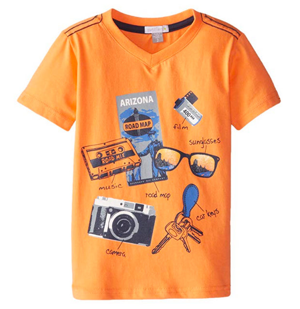 Petit Lem Little Boys' Retro Road Short Sleeve Tee