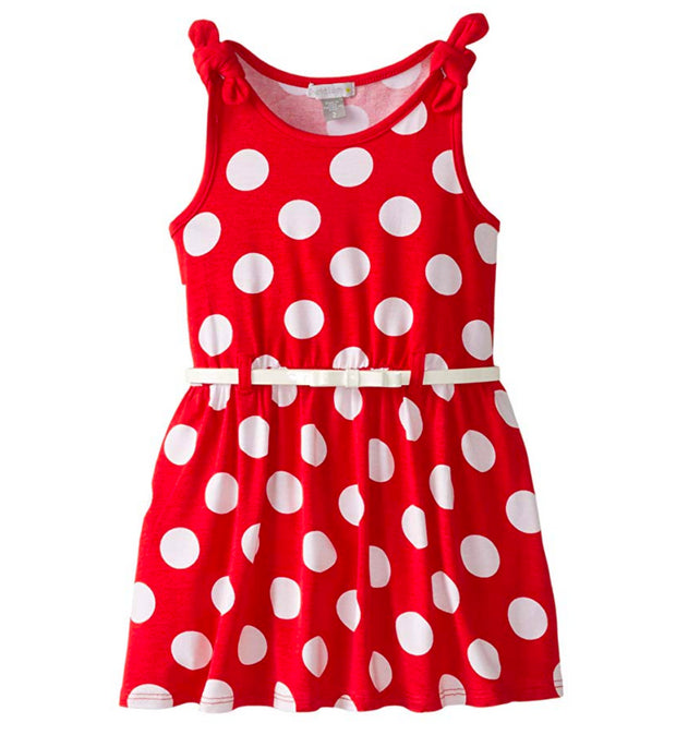 Petit Lem Little Girls' Dot Print Belted Dress