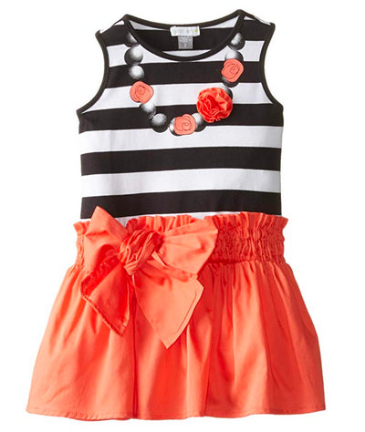 Petit Lem Little Girls' Rose Neckline Mixed Fabric Dress - Footsis.com