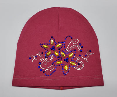 Girls' Cotton Blend Rhinestone Design Hat - Footsis.com