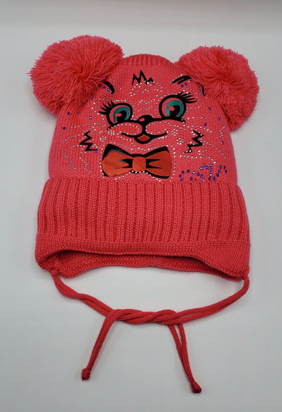Girls' Wool Blend Rhinestone 'Kitty' Applique Pom Hat Sz 2-4 Years - Footsis.com