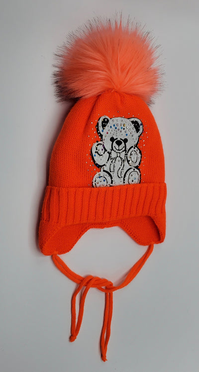 Girls' Wool Blend Rhinestone 'Bear' Applique Pom Hat Sz 2-4 Years - Footsis.com