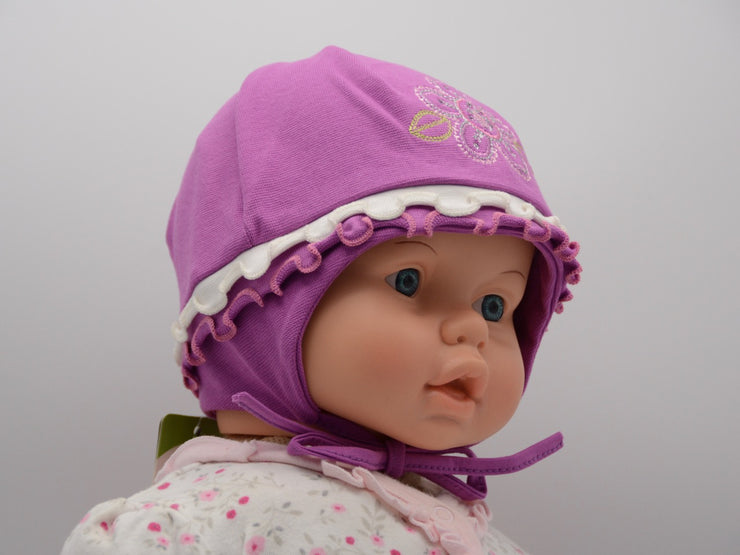 Limited Edition Soft Baby Girl 'Flower Rhinestone' Hat Cotton Blend Baby 12-24 Months