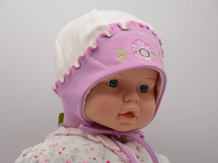 Limited Edition Soft Baby Girl 'Flower Rhinestone' Hat Cotton Blend Baby 12-36 Months