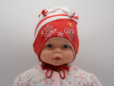 Limited Edition Soft Baby 'Super Girl' Hat Cotton Blend Infant 0-6 Months - Footsis.com