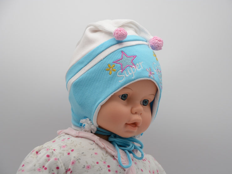 Limited Edition Soft Baby 'Super Girl' Hat Cotton Blend Infant 0-6 Months - Skidders.com