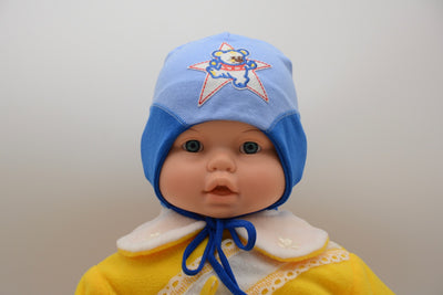 Limited Edition Soft Baby Boy 'Star Bear' Hat Cotton Blend Infant NB-3 Months - Footsis.com