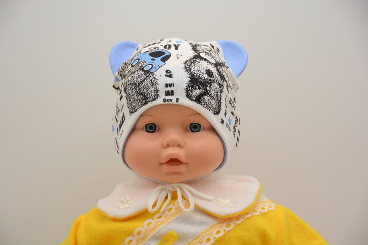 Limited Edition Soft Baby Boy 'Bear' Hat Cotton Blend Infant 0-6 Months - Skidders.com