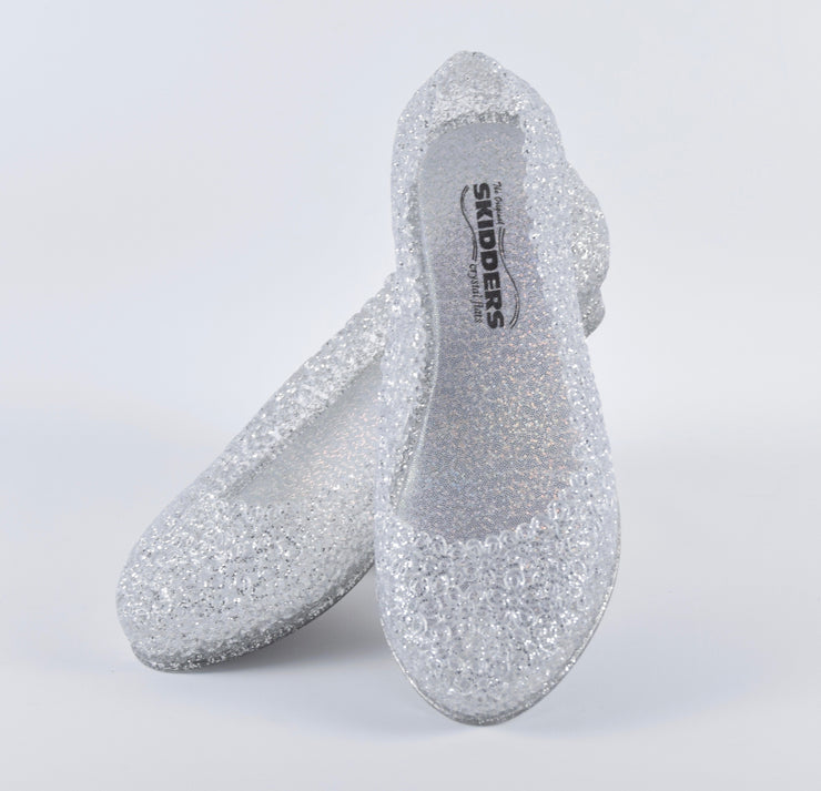 SKIDDERS The Original Womens Glitter Crystal Ballet Flat Jelly Shoes White - Skidders.com