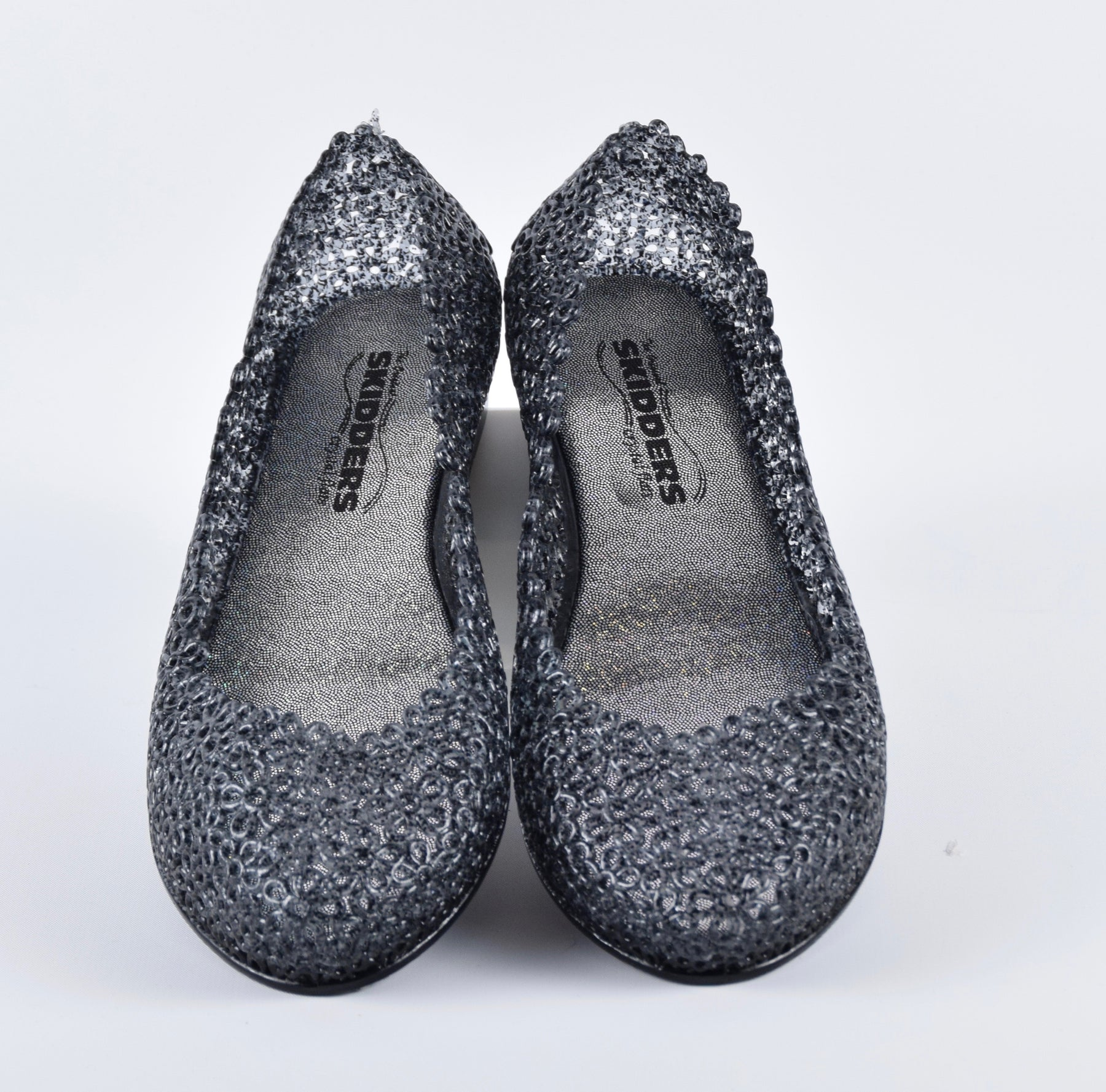 664bfa906d0e Share Share on Facebook. SKIDDERS The Original Womens Glitter Crystal  Ballet Flat Jelly Shoes Black