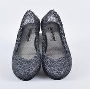 SKIDDERS The Original Womens Glitter Crystal Ballet Flat Jelly Shoes Black - Skidders.com