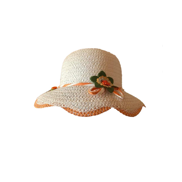 Girl Wide Brim Trilby Straw Cap Sun Hat Beach Summer Floral Sunhat 4-7 Years - Skidders.com