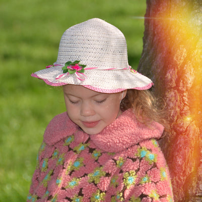 Girl Wide Brim Trilby Straw Cap Sun Hat Beach Summer Floral Sunhat 3-7 Years - Footsis.com