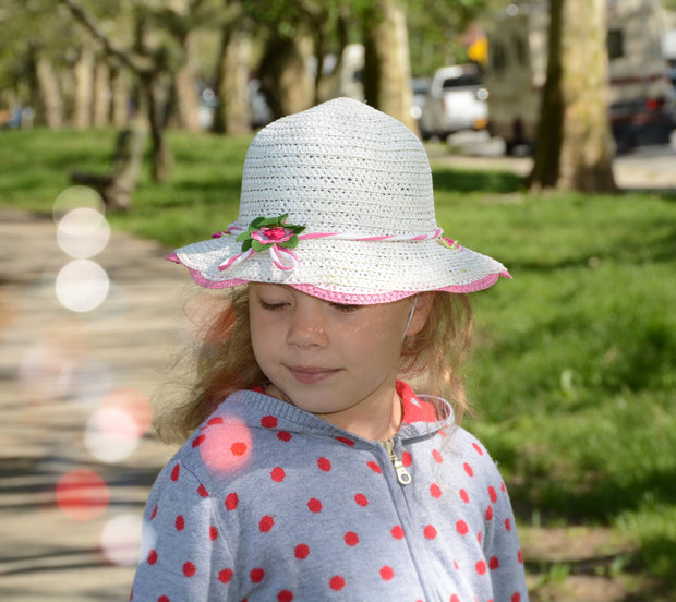 Girl Wide Brim Trilby Straw Cap Sun Hat Beach Summer Floral Sunhat 4-7 Years