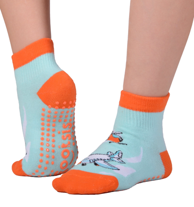 "FOOTSIS Non Slip Grip Socks for Yoga, Pilates, Barre, Home, Hospital ,Mommy and Me classes ""Plane"" - Footsis.com"