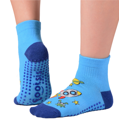 FOOTSIS Non Slip Grip Socks for Yoga, Pilates, Barre, Home, Hospital ,Mommy and Me classes 'Rocket' - Footsis.com