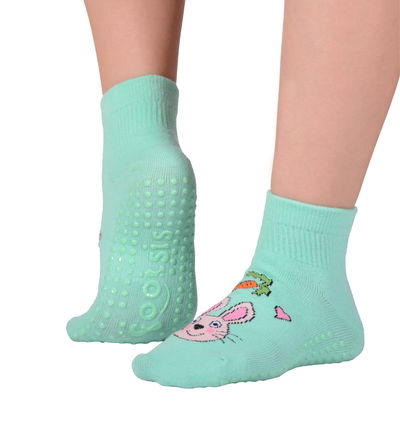 "FOOTSIS Non Slip Grip Socks for Yoga, Pilates, Barre, Home, Hospital ,Mommy and Me classes ""Bunny"" - Footsis.com"