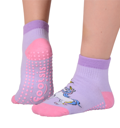 "FOOTSIS Non Slip Grip Socks for Yoga, Pilates, Barre, Home, Hospital ,Mommy and Me classes ""Unicorn"" - Footsis.com"