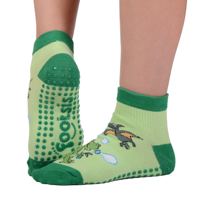 "FOOTSIS Non Slip Grip Socks for Yoga, Pilates, Barre, Home, Hospital ,Mommy and Me classes ""Dinosaur"" - Footsis.com"