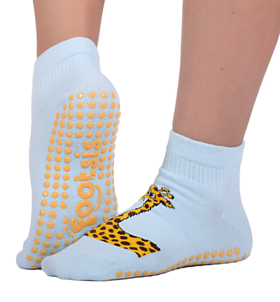 "FOOTSIS Non Slip Grip Socks for Yoga, Pilates, Barre, Home, Hospital ,Mommy and Me classes ""Giraffe - Footsis.com"