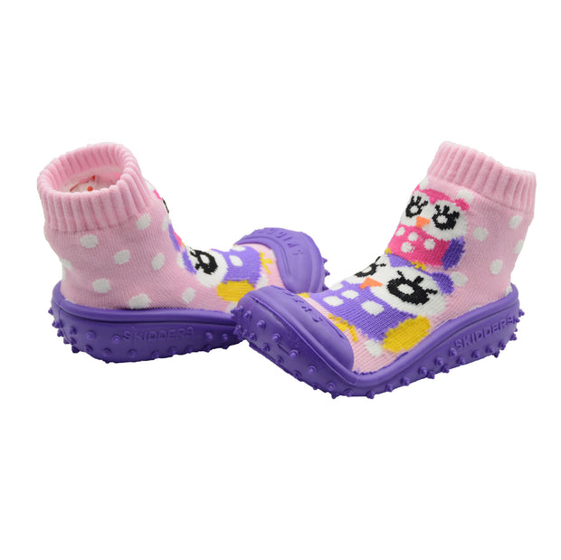 "Skidders Baby Toddler Girl Grip Shoes ""Two Owls"" Style SK1263 - Skidders.com"