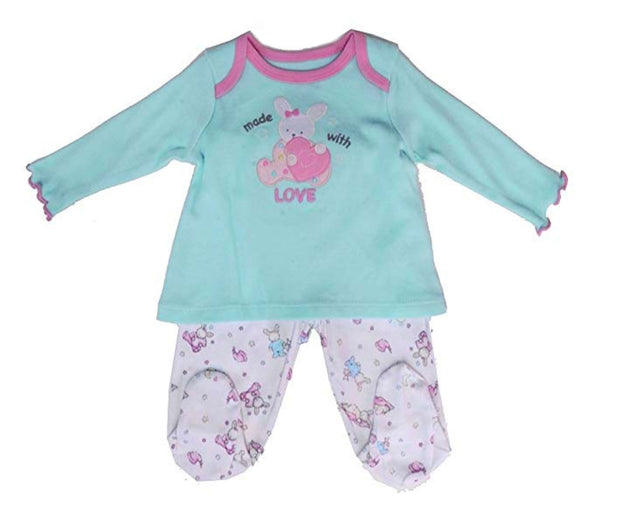 Vitamins Baby Bunny Made with Love Footed Pant Set