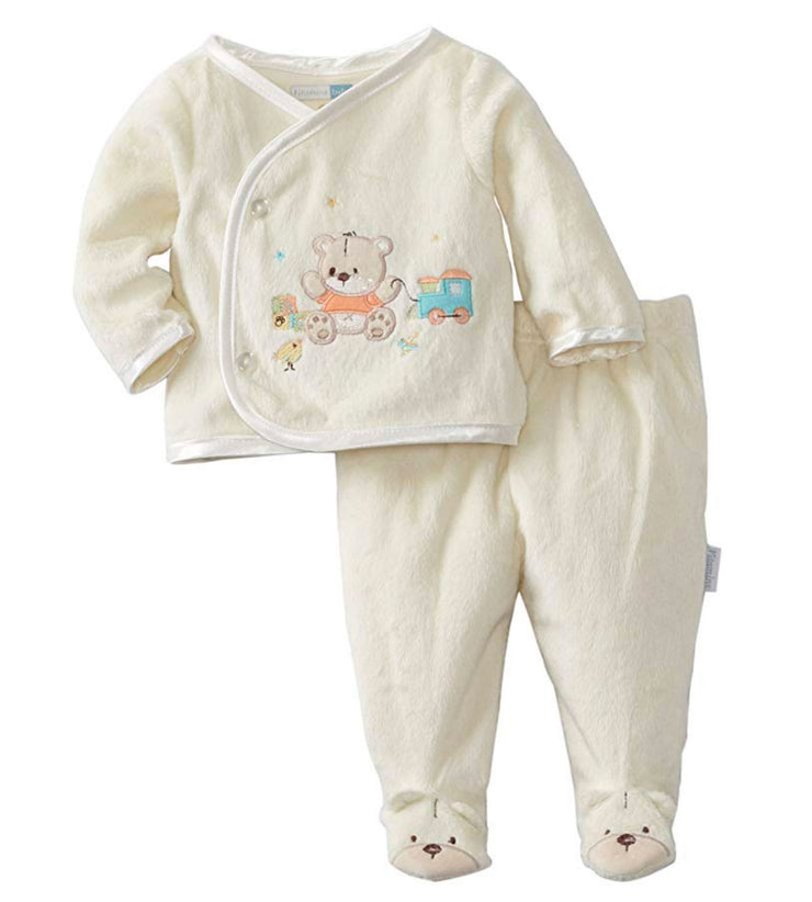 Vitamins Baby Unisex Newborn 2 Piece Footed Pant Set with Cute Bear and Toys Applique - Skidders.com