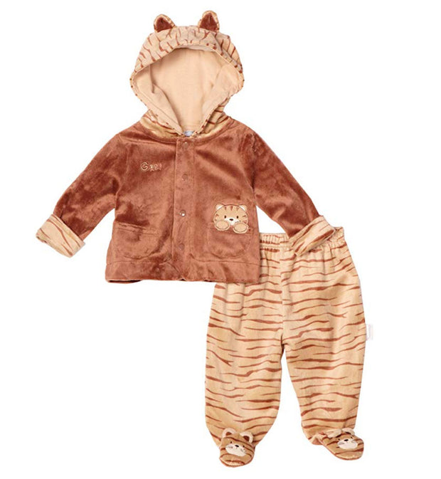 Vitamins Baby Boys Newborn Tiger Superplush 2 Piece Footed Pant Set