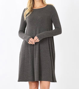 Everyday Basic Dress Long Sleeve (Charcoal)