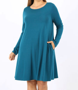 Everyday Basic Dress Long Sleeve (Teal)