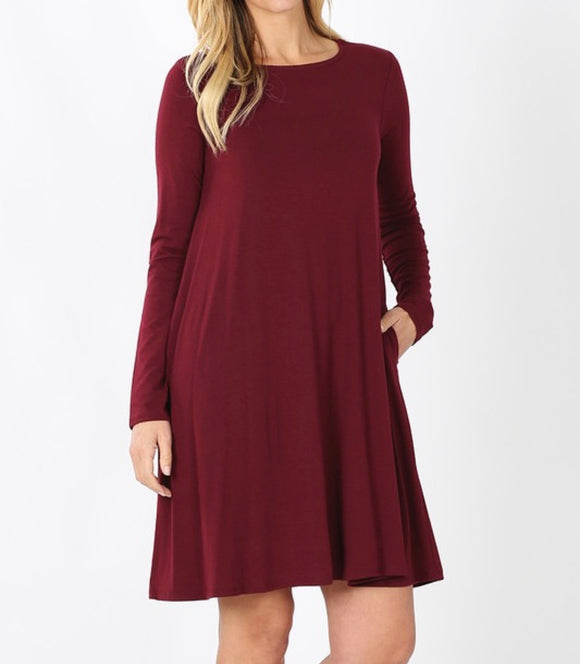 Everyday Basic Dress Long Sleeve (Dark Burgundy)