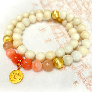 Load image into Gallery viewer, Sunset Mantra Armband mit vergoldetem Silber Om Style Heaven